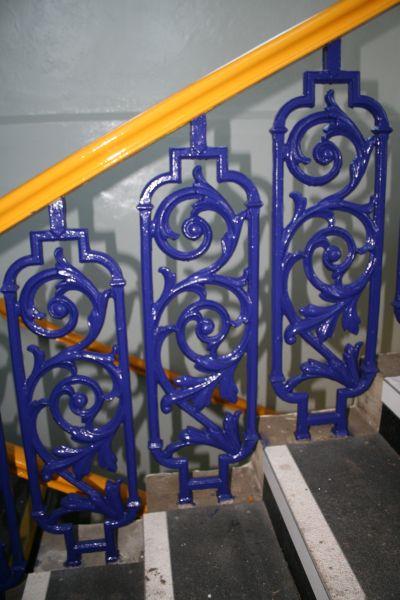 Blue banister rails