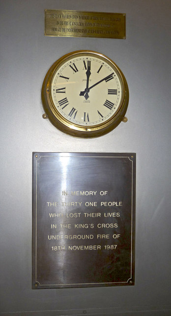 Clock and Plaque in Memory of people killed in King's Cross Fire