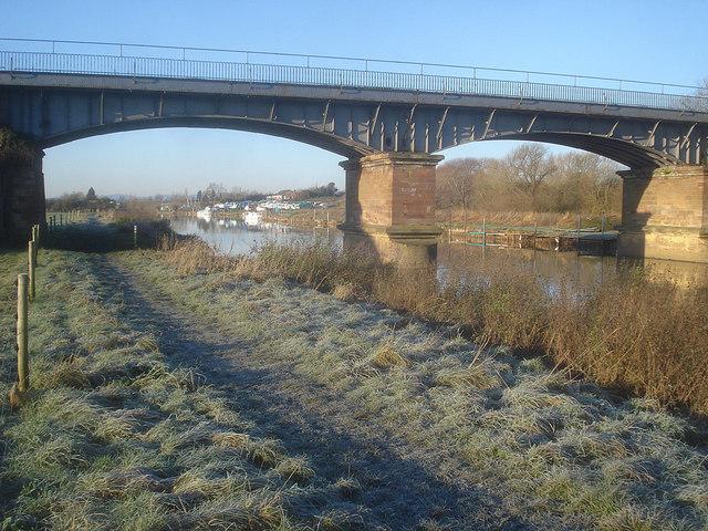 Railway bridge and boatyard