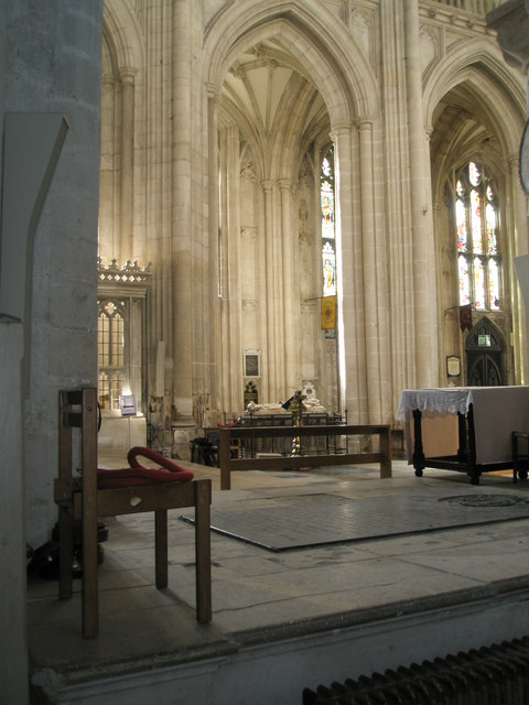 View from the north aisle across the nave to the south aisle at Winchester Cathedral