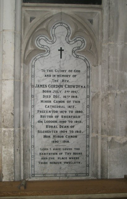 Memorial to a worthy cleric on the north wall at Winchester Cathedral