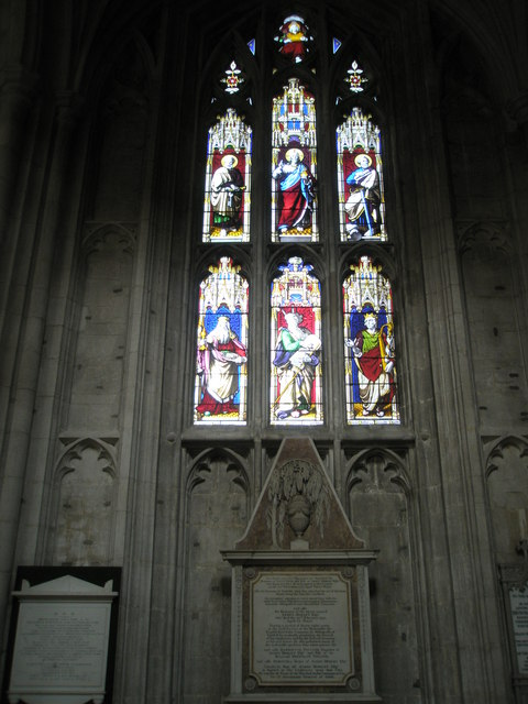 Stained glass window above the pulpit at Winchester Cathedral