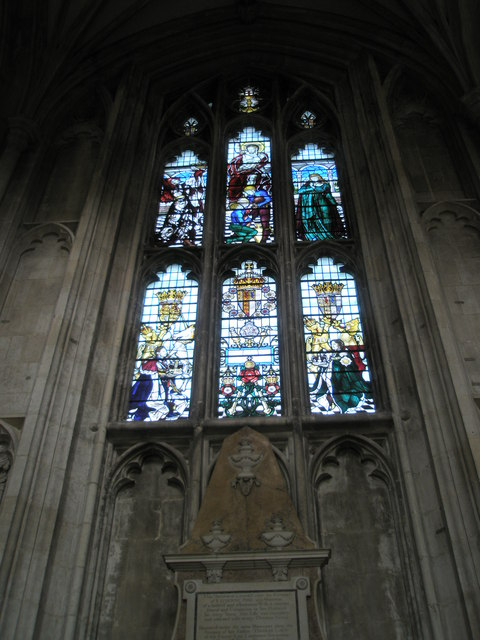 Inspirational stained glass window on the north wall at Winchester Cathedral