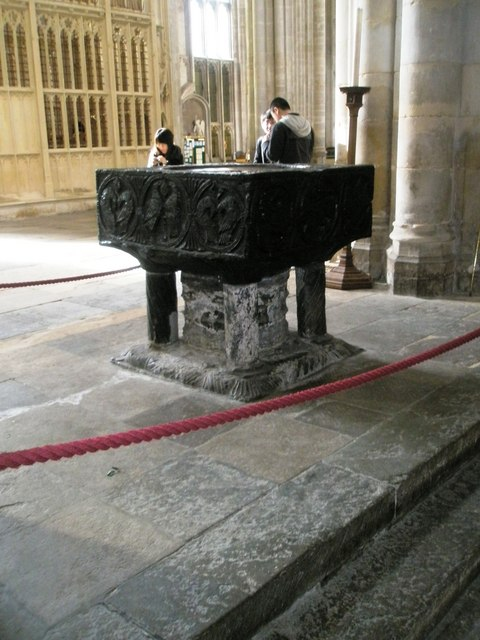 The font at Winchester Cathedral