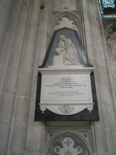 Memorial to a medical man on the north wall at Winchester Cathedral