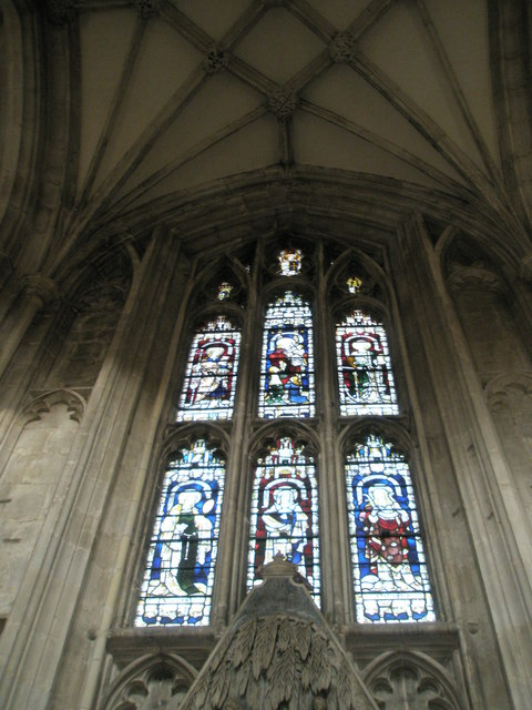 Delightful stained glass window on the north wall of Winchester Cathedral