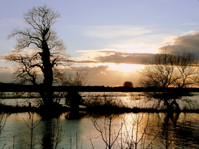 Sunset over the flooded Frome