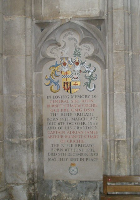 Memorial to a grandfather and his grandson on the north wall at Winchester Cathedral