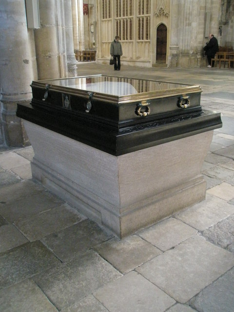 Display case in the north west corner of Winchester Cathedral