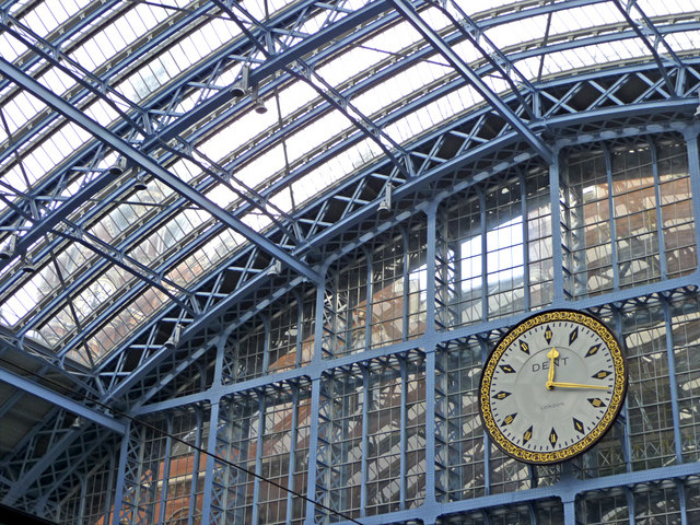 Clock and Roof, St Pancras, London