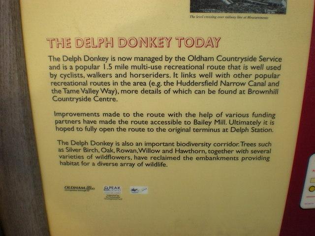 Information board on The Delph Donkey