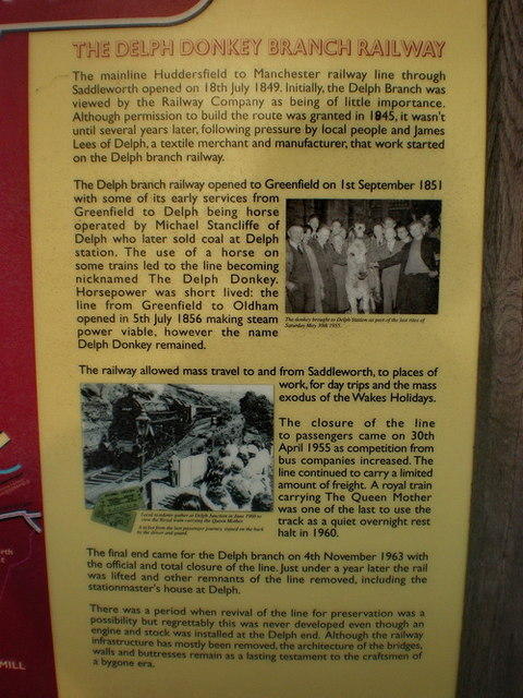 Information board on The Delph Donkey