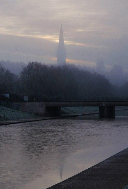 Railway bridge and spire, Exeter