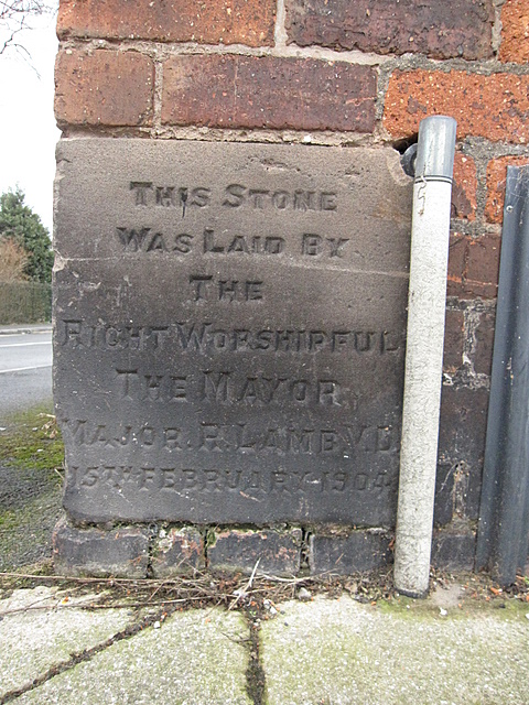 Foundation stone in Tower Road