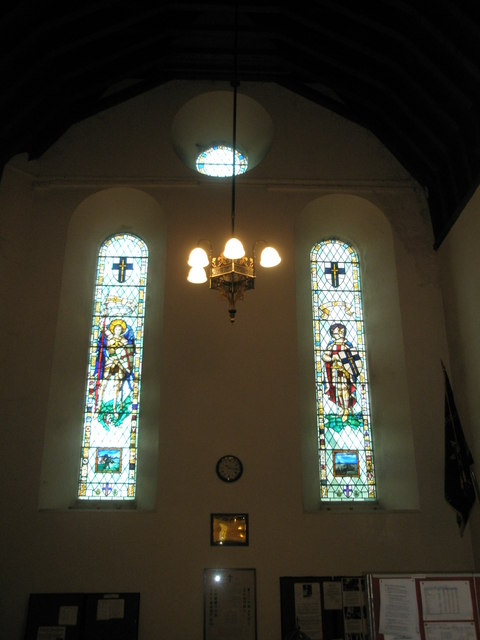 The D-Day windows on the west wall at Christ Church, Portsdown