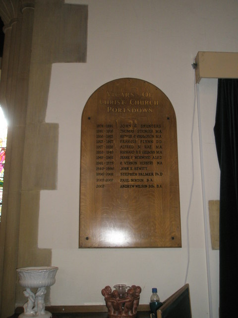 Familiar names on the incumbency board at Christ Church, Portsdown