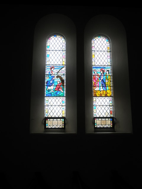 Beautiful stained glass windows on the north wall at Christ Church, Portsdown