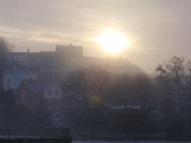 Misty sun over Exeter