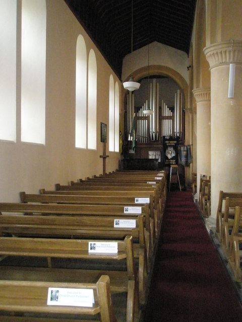 Pews along the north wall of Christ Church, Portsdown