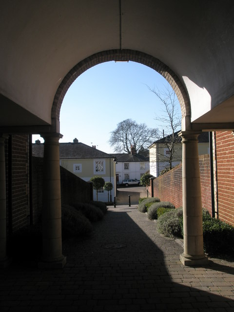 Looking through arch within Constable's Gate down to St James Lane
