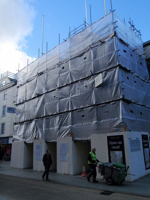 Exeter Guildhall under wraps