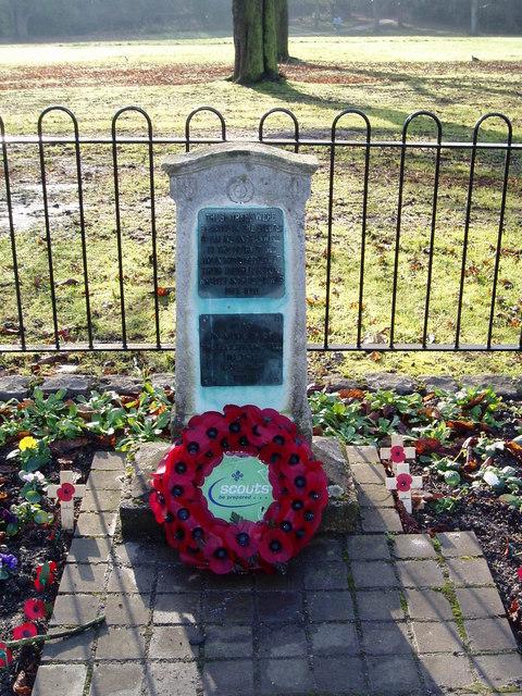 Scout War Memorial, Churchfields Recreation Ground, Hanwell
