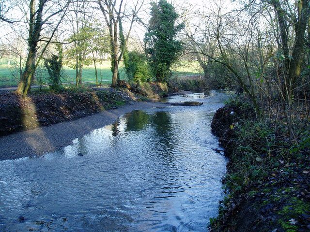 River Brent - looking east towards ruined weir