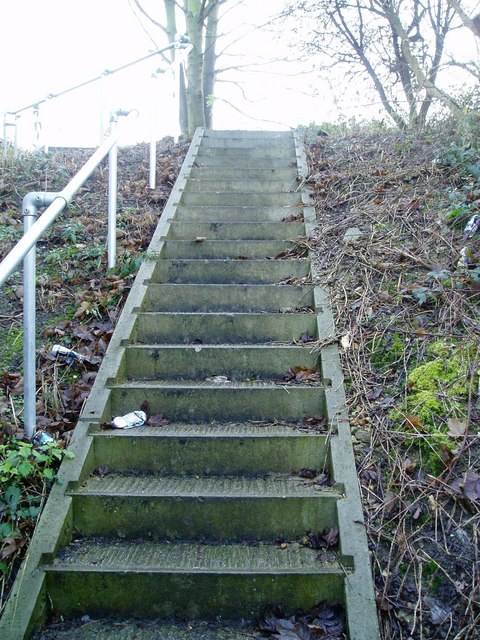 Steps leading up railway embankment