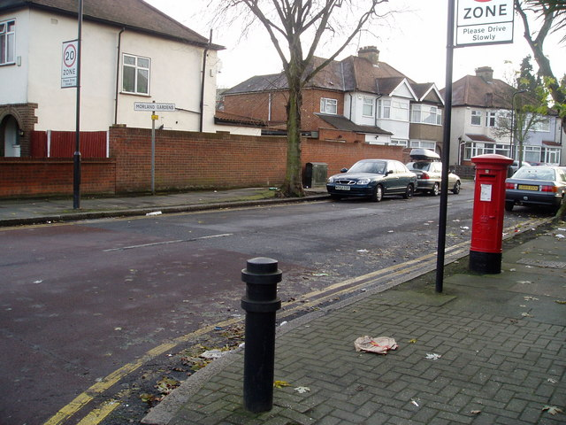 Morland Gardens at junction with the Uxbridge Road.