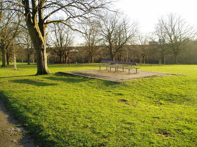 Park bench, Churchfields Recreation Ground