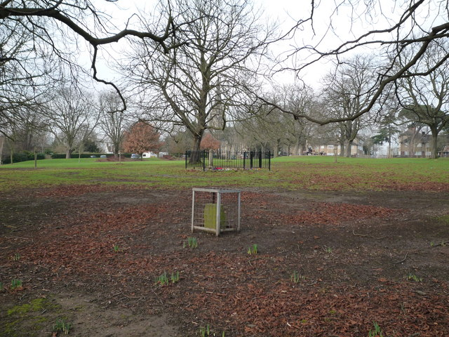 Glebe stone and the Scouts War Memorial, Churchfields Recreation Ground