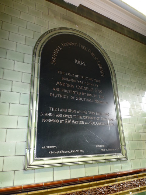 Southall Library plaque