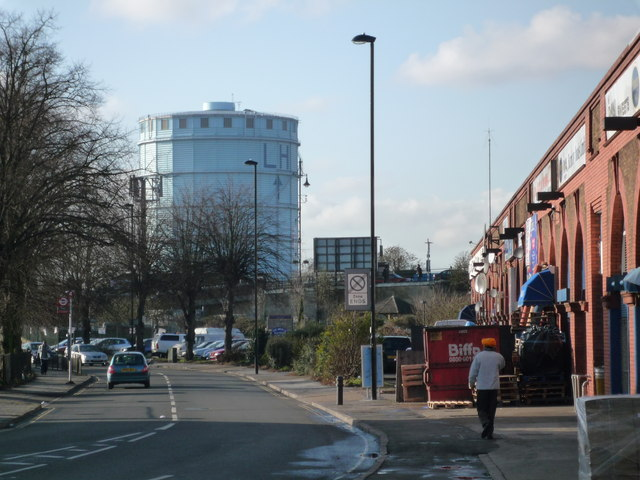 Southall Gasometer from the Merrick Road