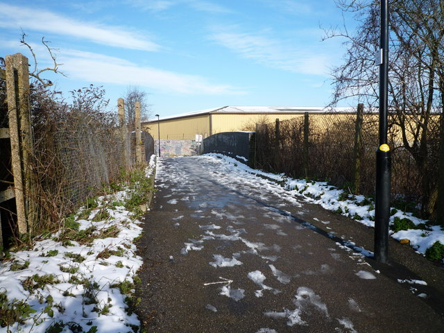 Glade Lane looking towards foot bridge over the Brentford Branch Line