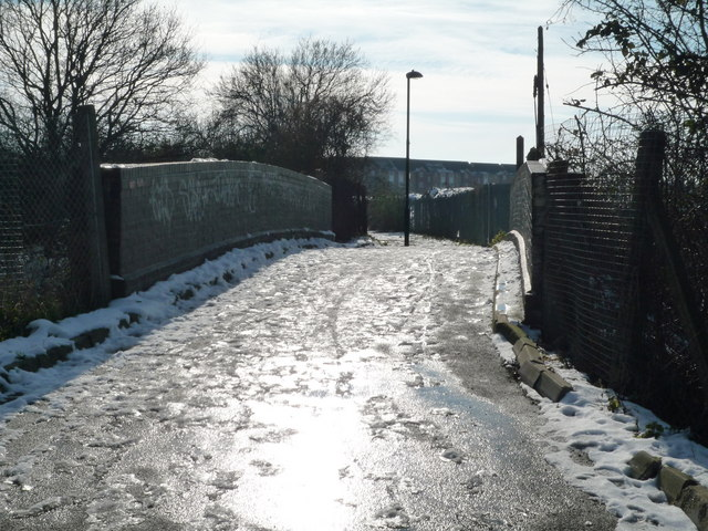 Glade Lane looking towards foot bridge over the Brentford Branch Line