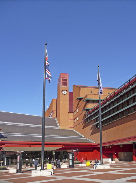Entrance to British Library, Euston Road, London WC1