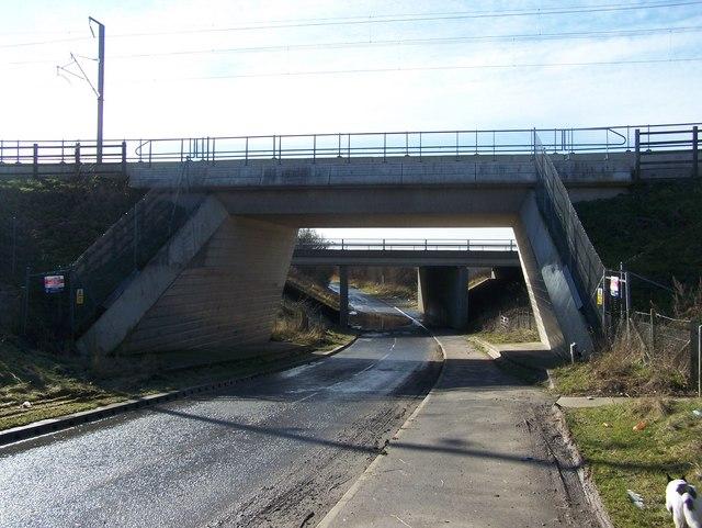 Water Lane leads under CTRL Bridge and M20 Bridge