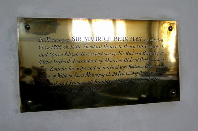 Memorial to Sir Maurice Berkeley - Bruton