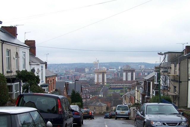 View down Blake Street, Walkley, Sheffield - February 2009