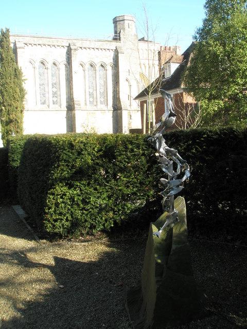 Sculpture within Dean Garnier's Garden at Winchester Cathedral
