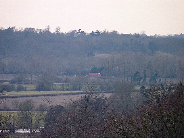 Distant view of A12 near Dedham Gun Hill