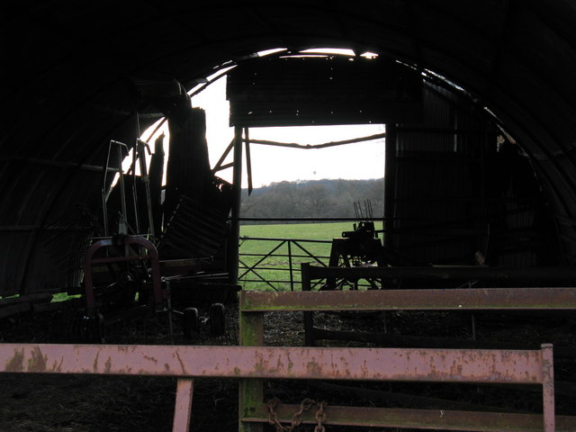 View through old barn