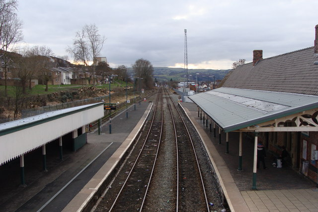 Newtown Station and railway line heading west