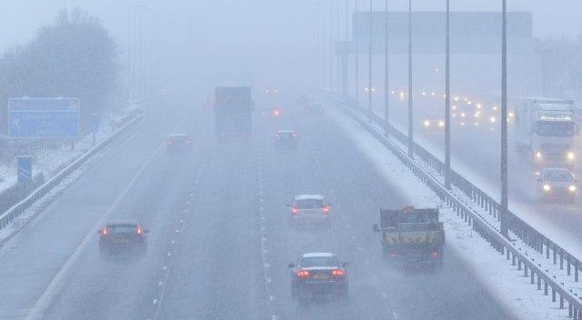 Snowstorm on the M1 Motorway