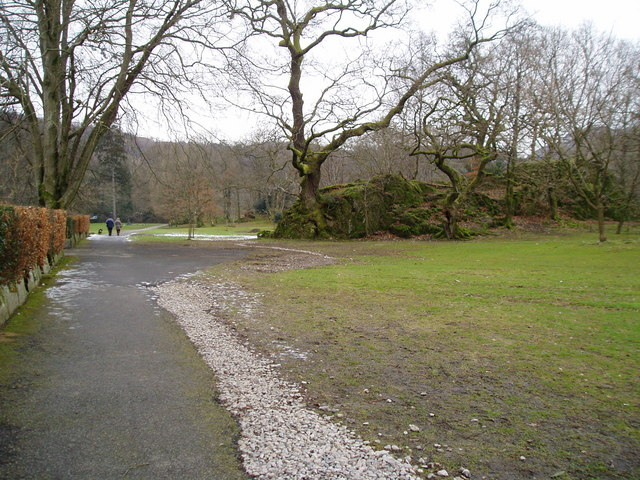 Natural rock outcrop in Rothay Park