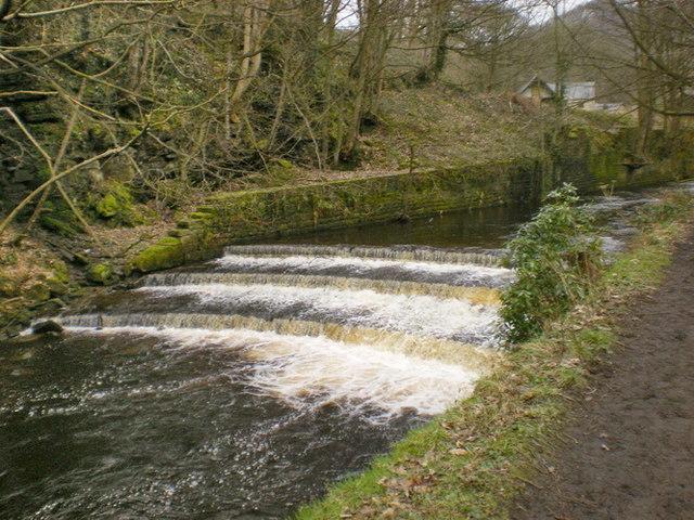 Weir on Hebden Water below Lee Mill Bridge