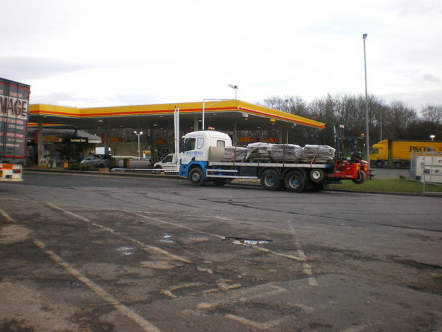 The filling station at Hartshead Moor Motorway Services