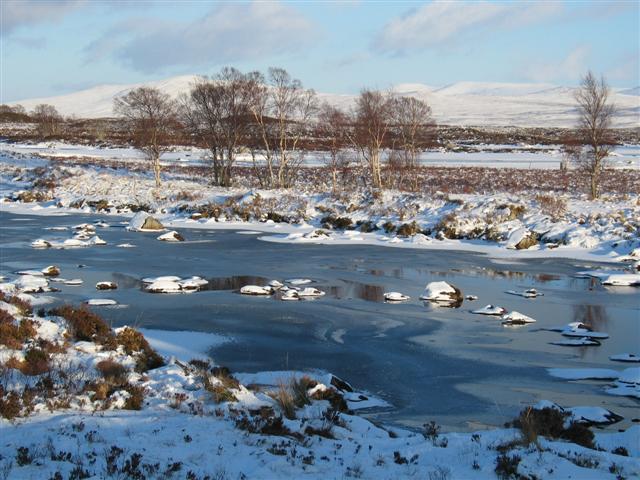 Watercourse winter scene by Loch Ba