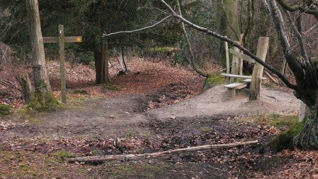 Crossing of footpaths near Marley Heights