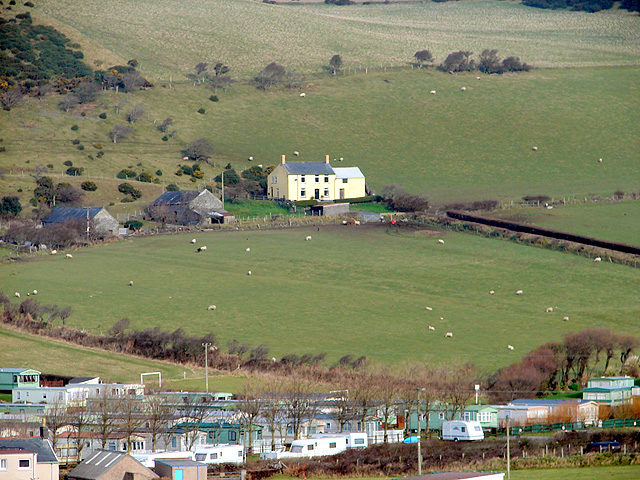 A view across Clarach holiday village towards Tan-y-foel farm